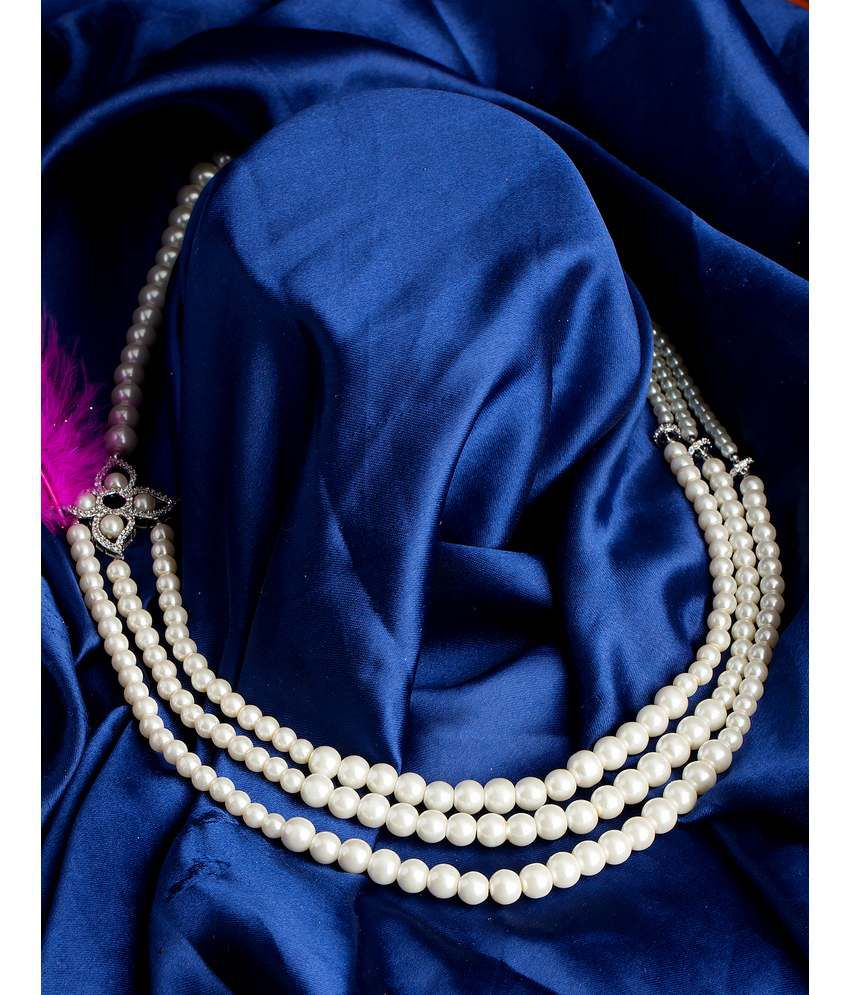 Voylla Pearl Necklace Graced with CZ Gems