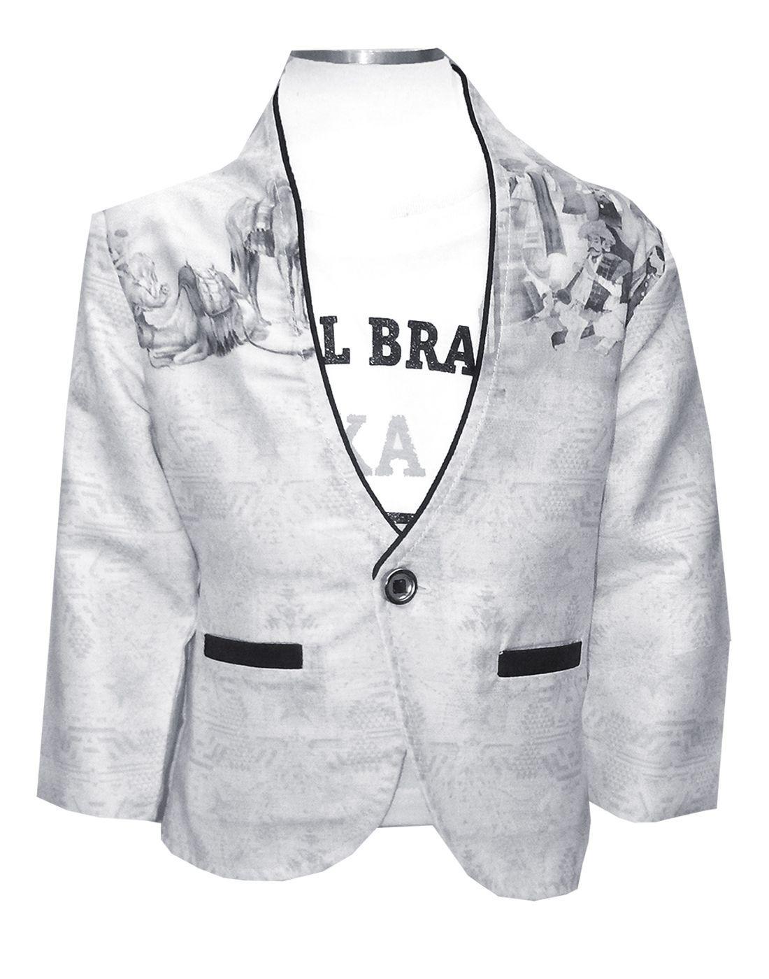 4703ecc885 Kooka Kids Boys Full Sleeves Blazer With Round Neck Half Sleeves T-Shirt  (2PC ...