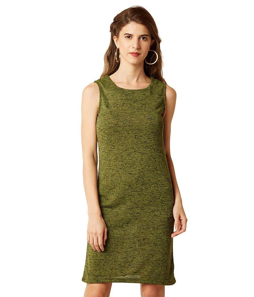 Miss Chase Cotton Green Shift Dress