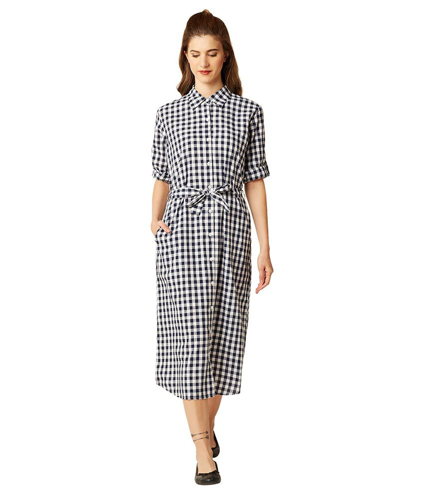 Miss Chase Cotton Multi Color Shirt Dress