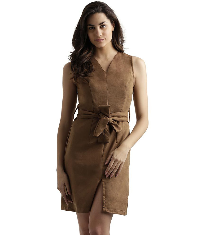 Miss Chase Suede Brown Shift Dress
