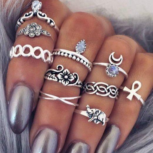 10 Pcs Set Bohemian Rings Punk Ring Set Hippies Jewelry Women
