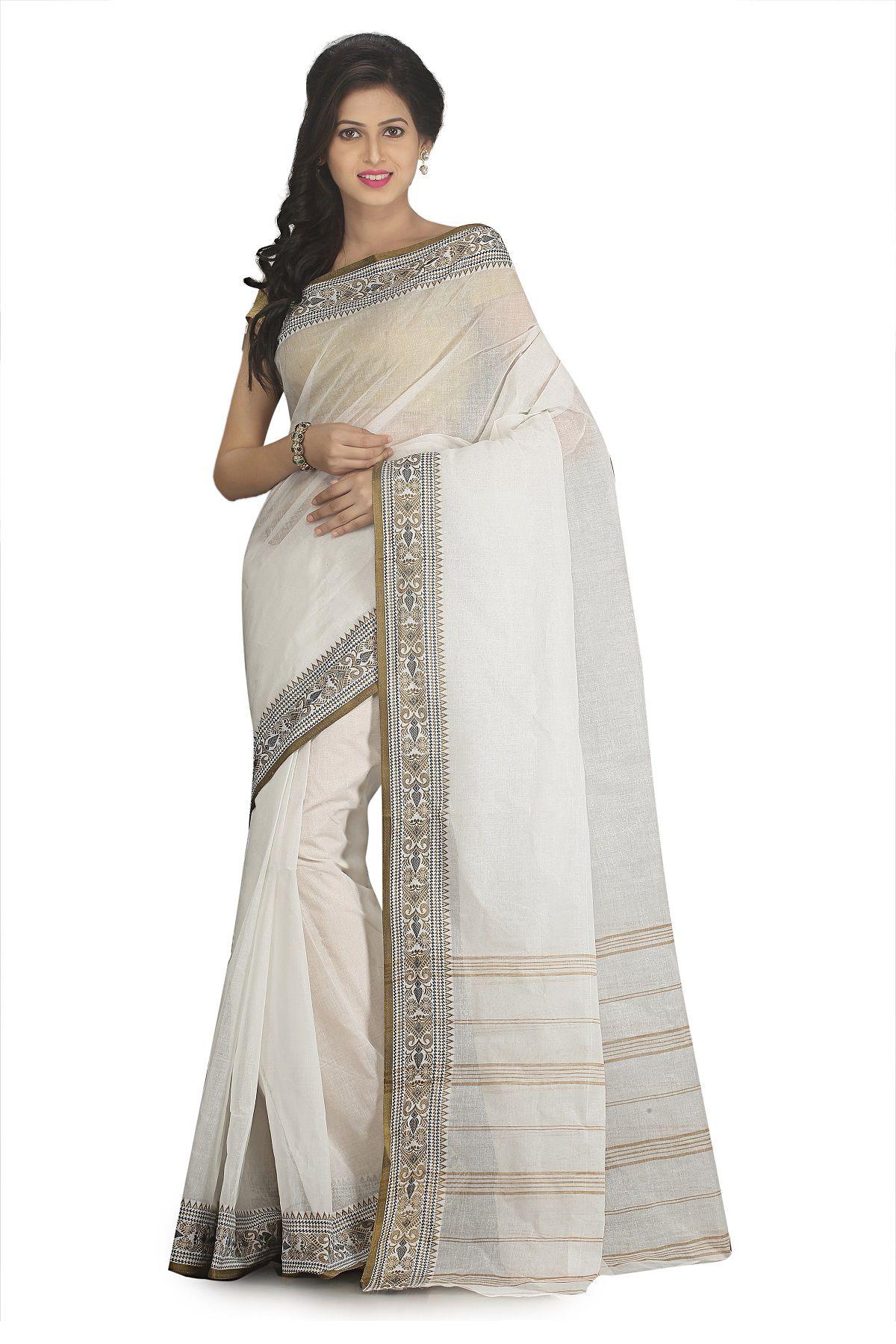 Fablum Off White Bengal cotton Saree