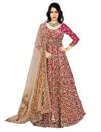 P.K FASHION BAZAR Red Bangalore Silk Anarkali Semi-Stitched Suit
