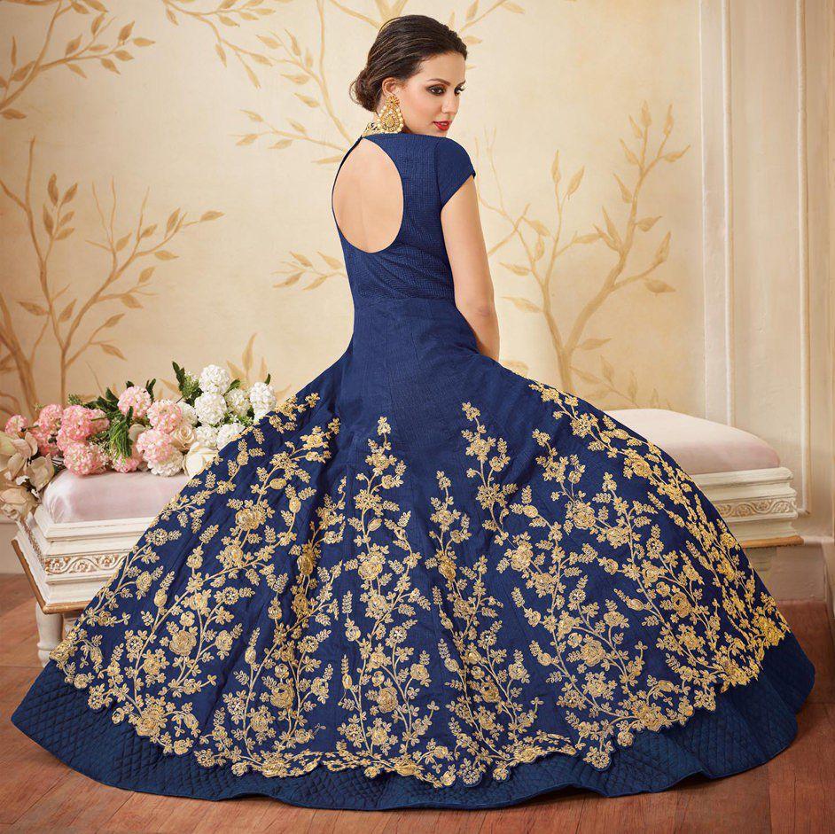 cd791dc533e ... Ethnic Empire Women s Taffeta Silk Semi Stitch Blue Gown Anarkali Party  Wear Dress