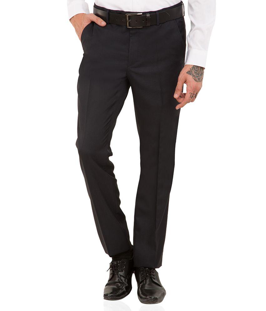 Black Coffee Dark Blue Regular -Fit Flat Trousers
