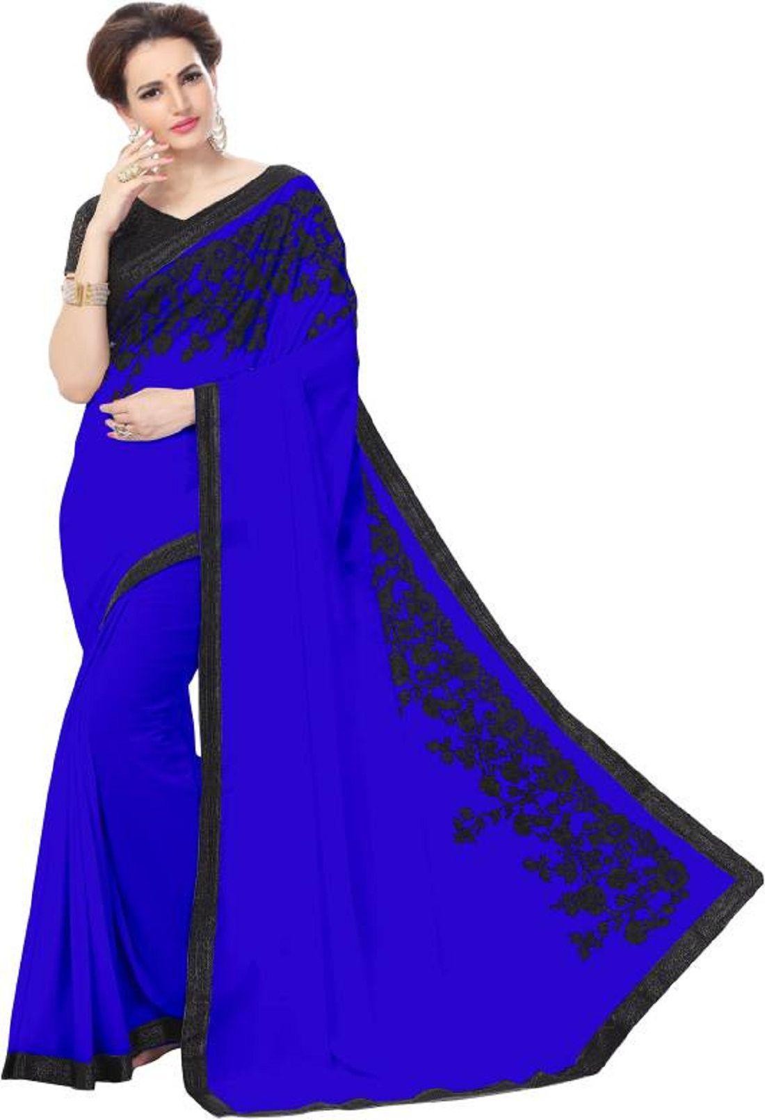 Harikrishna Enterprise Blue Georgette Saree