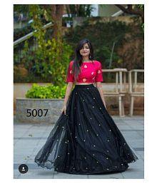 M.N FABRICS Black Bangalore Silk Semi Stitched Lehenga