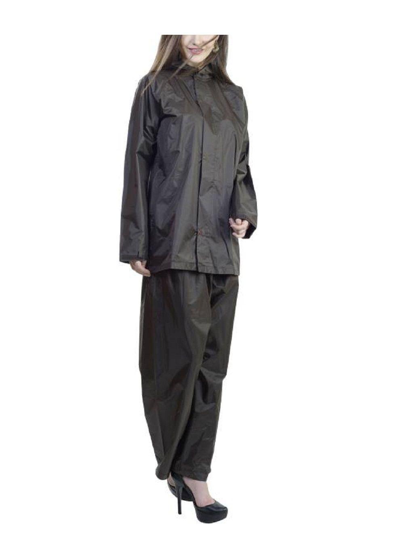 SPZ FASHION Nylon Raincoat Set - Black