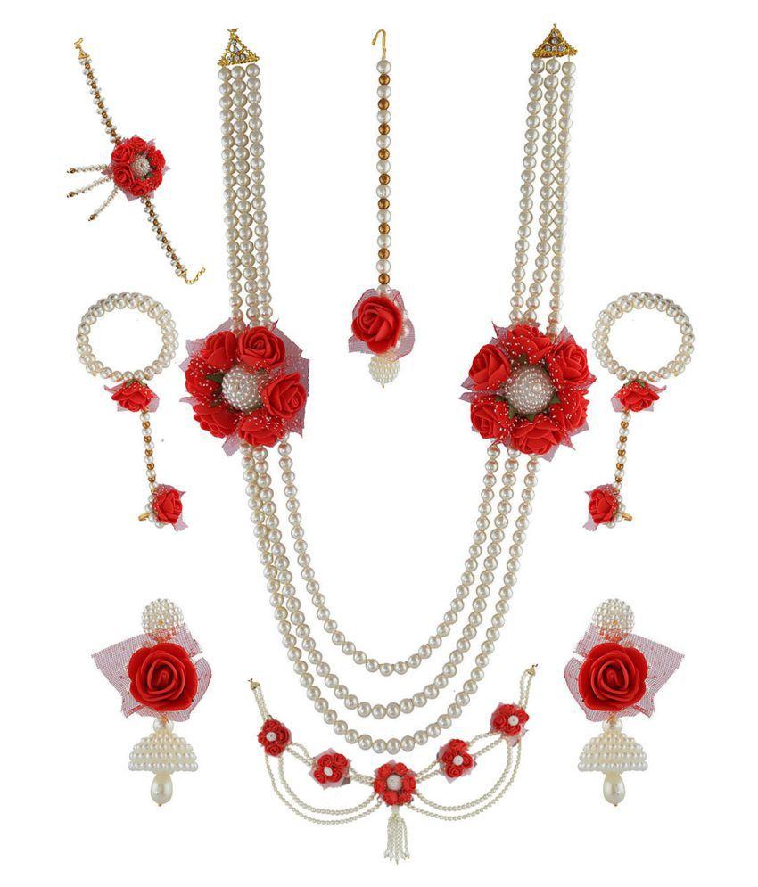 Anuradha Art Red Colour Rose Flower Styled Wonderful Flower Jewellery Bridal/Bride full set For Women/Girls