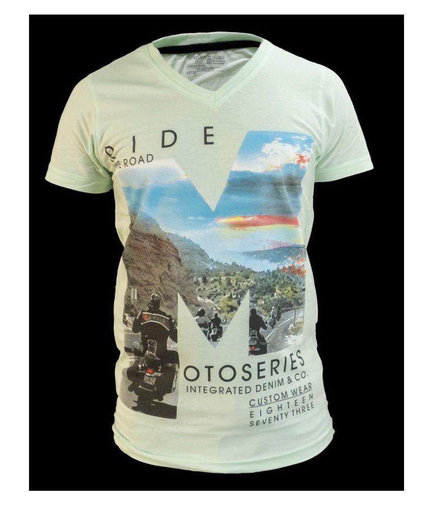 Glaring Textiles Light Green Cotton T-Shirt