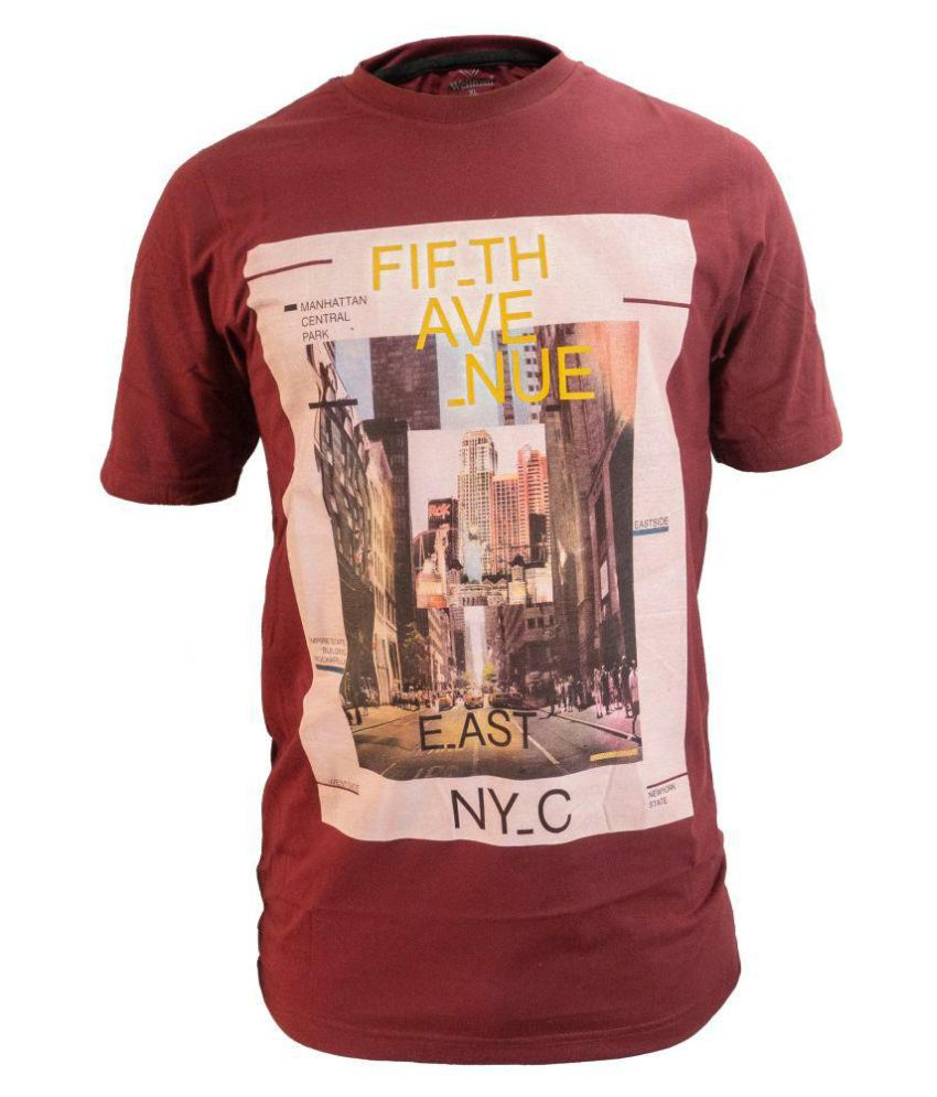 Glaring Textiles Red Cotton T-Shirt