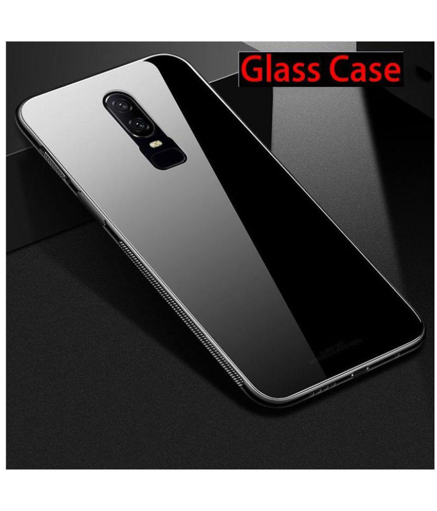 new style 9ac5e 1f305 OnePlus 6 Hybrid Covers JMA - Black Luxurious Toughened Glass Back Case