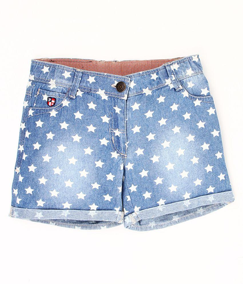 U.S. Polo Assn. Kids Girls Printed Denim Shorts