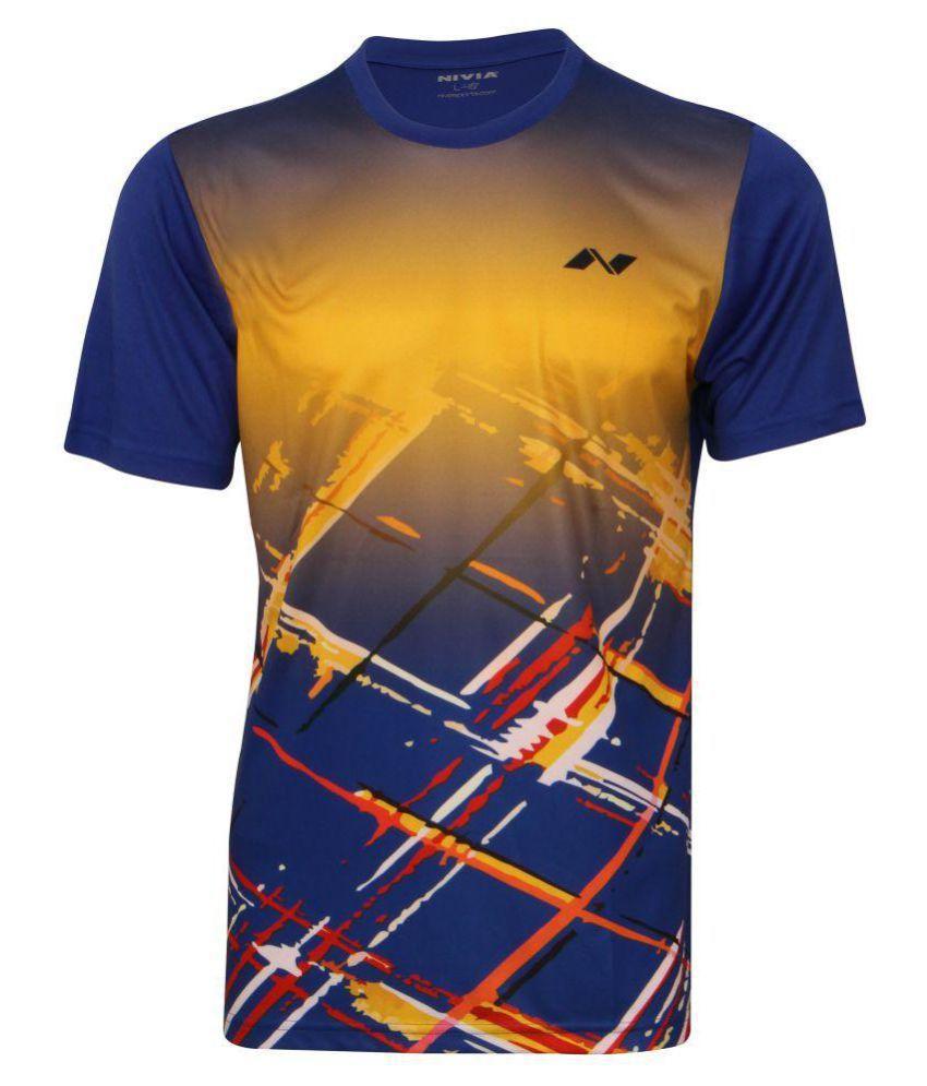 Nivia Navy Polyester T-Shirt-2353XS1