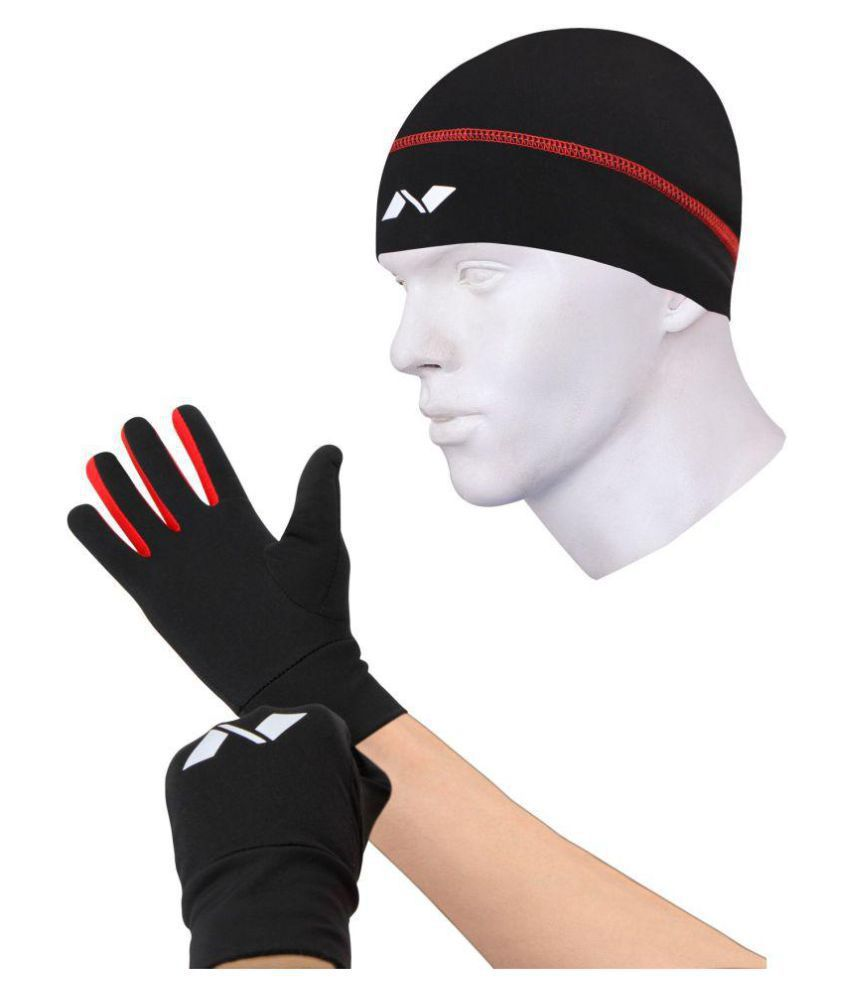 Nivia Black Polyester Safety Gloves And Cap Combo-1138l