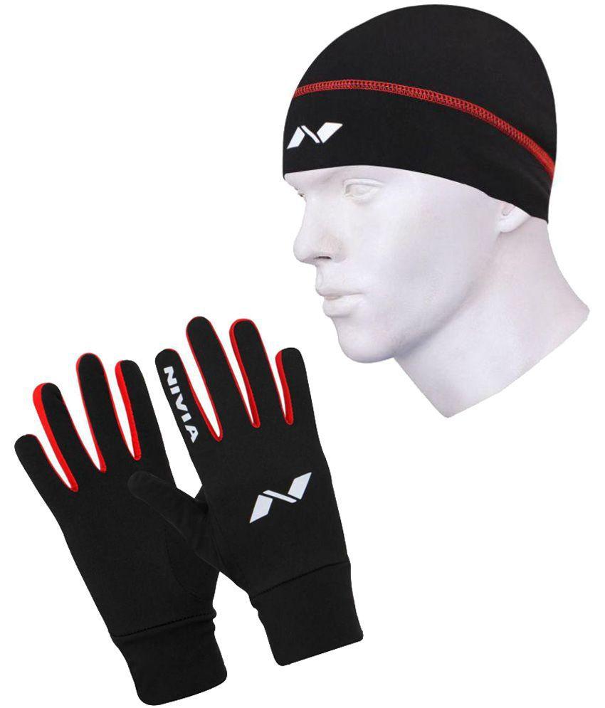 Nivia Black Glove With Cap-1138s