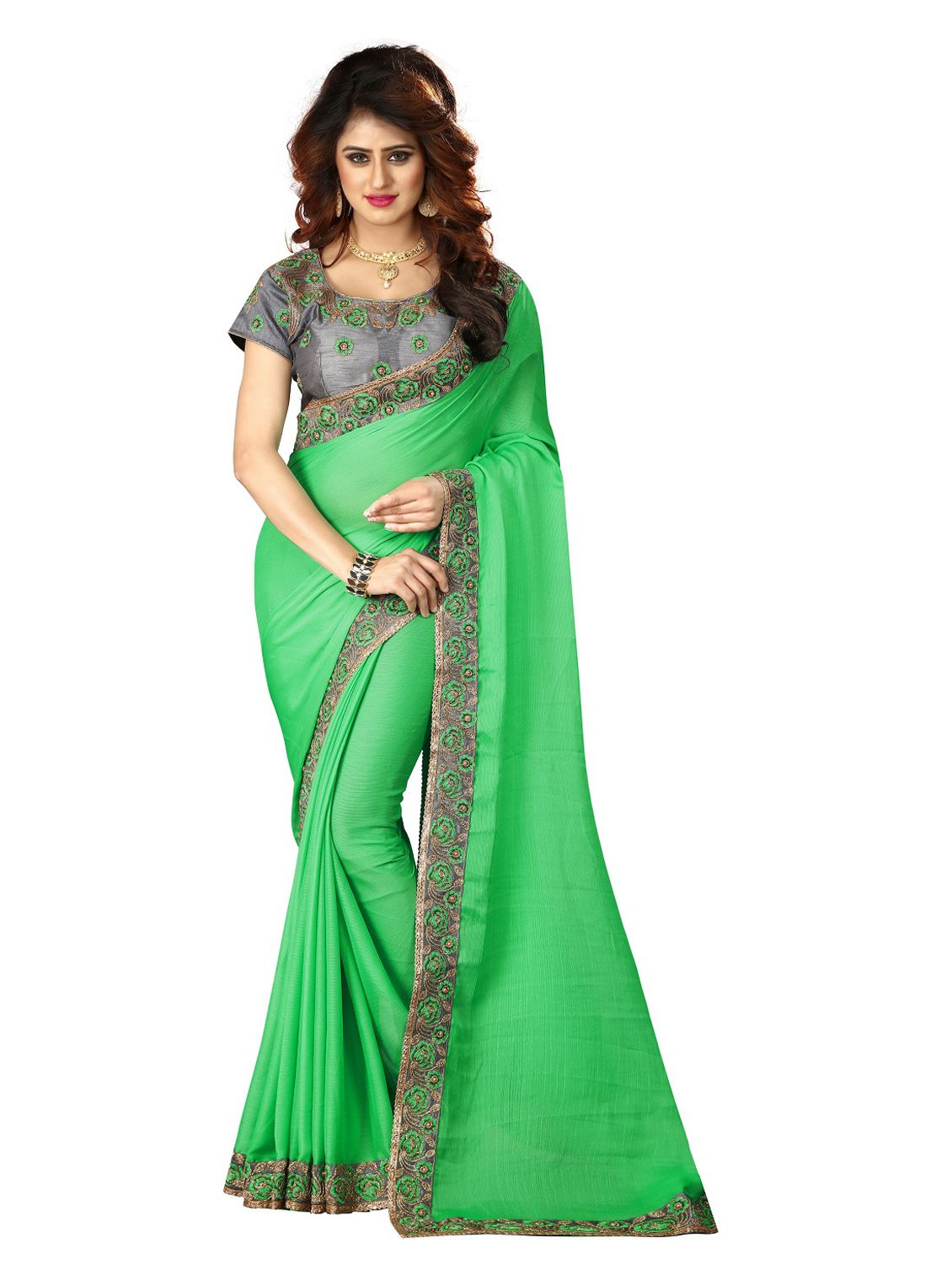 Greenvilla Designs Green Chiffon Saree