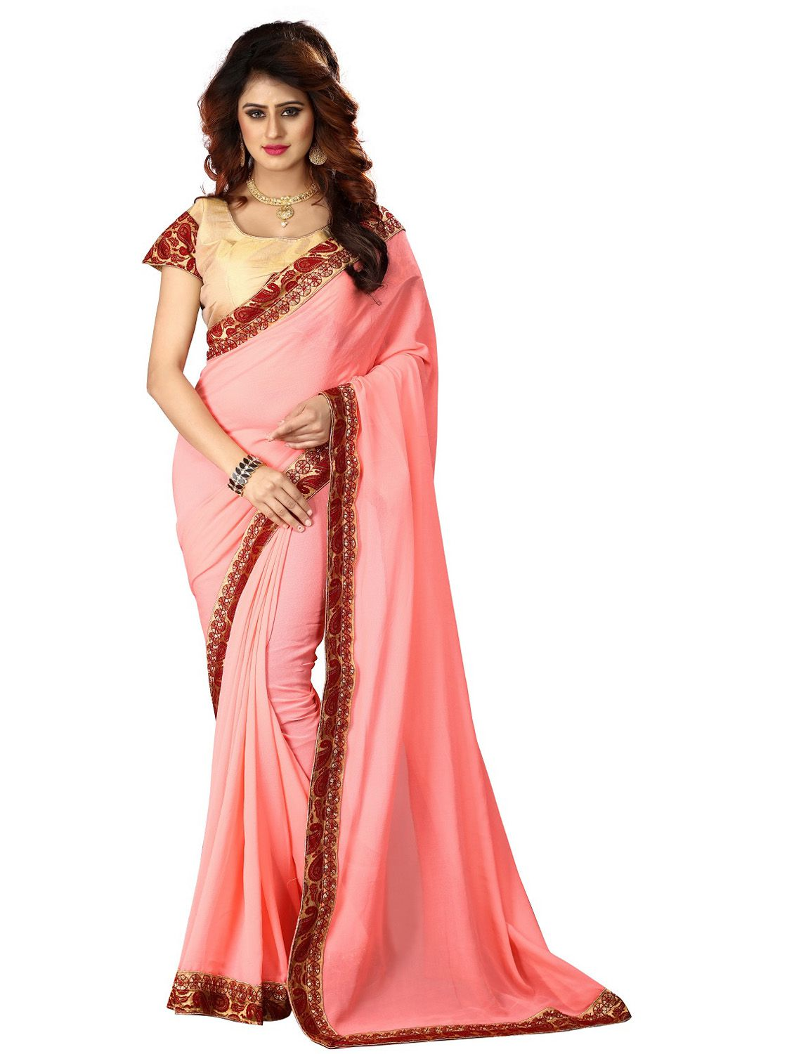 Gurukrupa Digital Pink Silk Saree