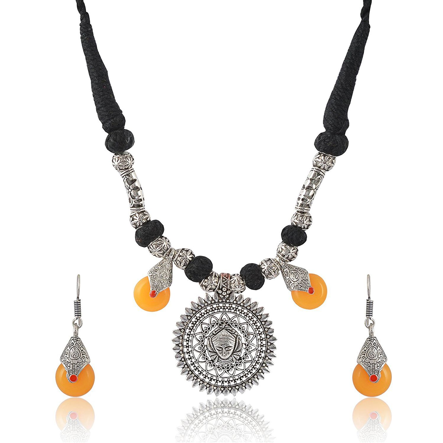 Goddess Durga Thread Necklace with Black Stone Earrings by D9 Creation