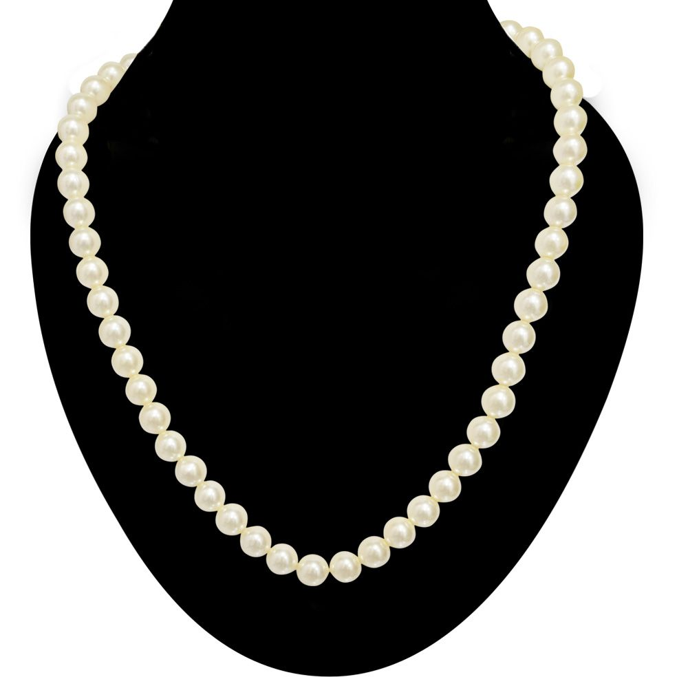 Surat Diamonds Single Line White Shell Pearl Necklace (PS479)