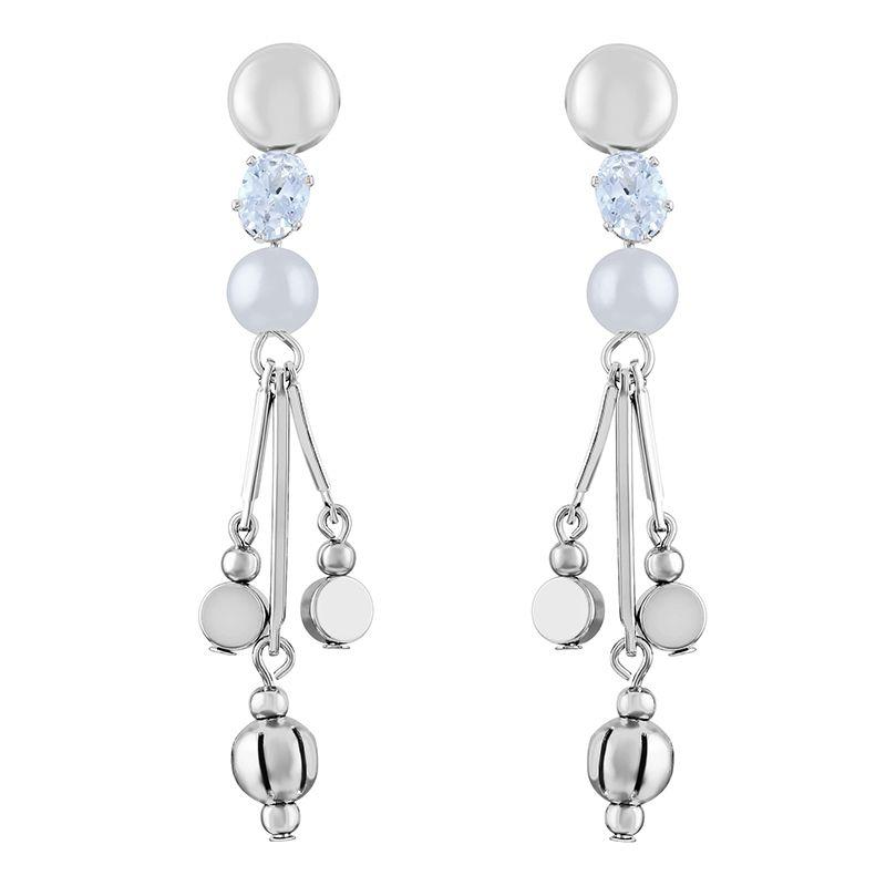 Asmitta Modern White Stone Rhodium Plated Dangle Earring For Women
