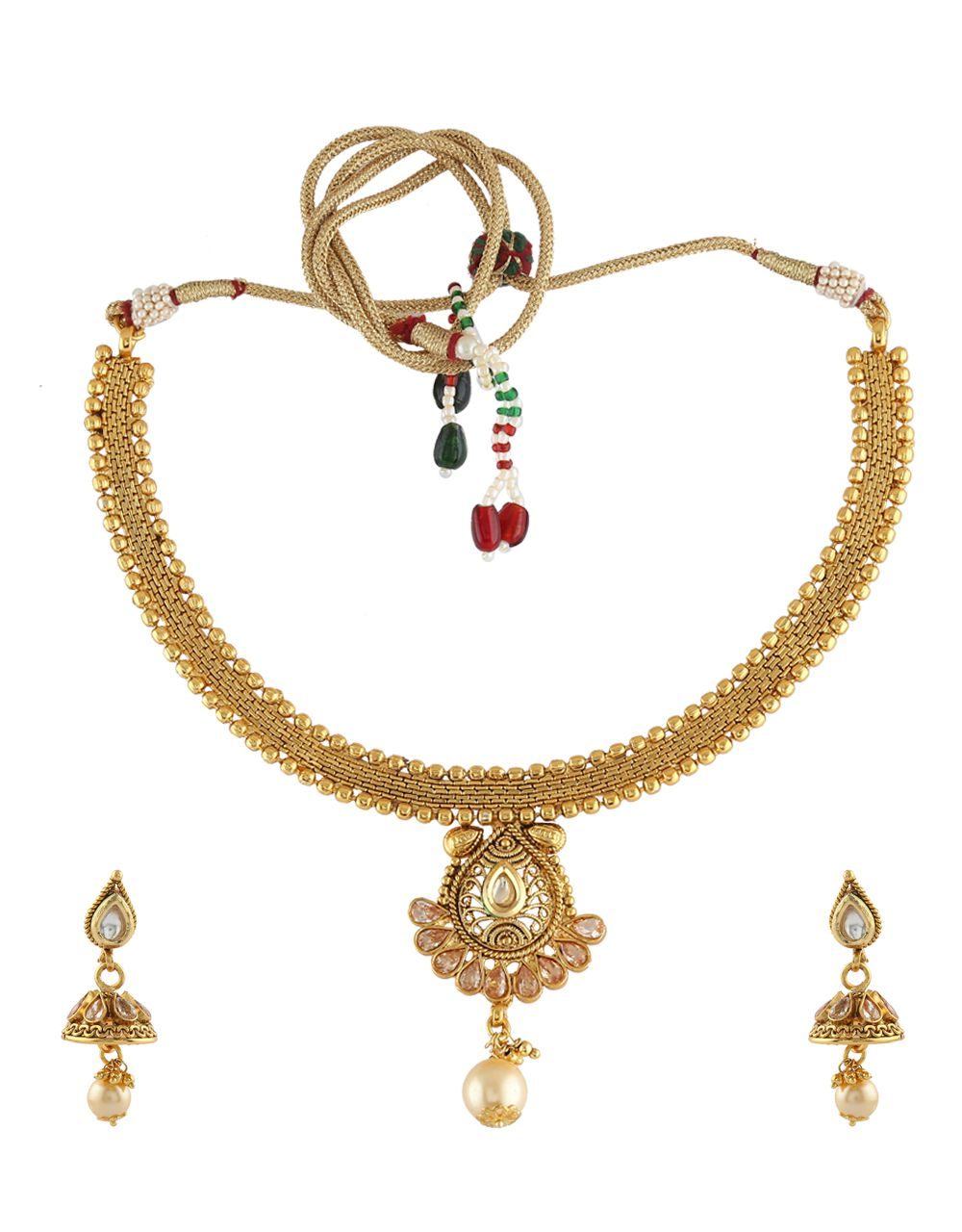 Anuradha Art Designer Droplet Shape Styled With Stones And Hanging Pearl Beads Traditional Necklace Set for Women/Girls