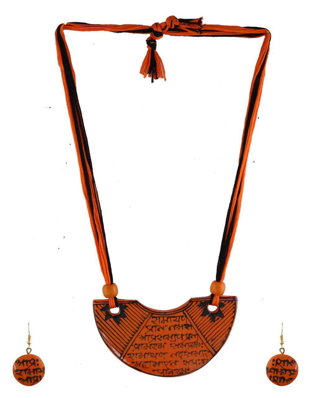 Anuradha Art Orange Colour Very Classy Wonderful Sanskrit Shlok Print On Pendant Terracotta Thread Necklace Set For Women/Girls