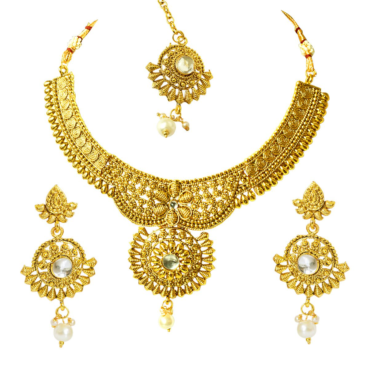 Suratdiamond Traditional Rajasthani Choker Style Gold Plated Designer White Colored Stone Fashion Jewellery Set for Wedding for Women (PS515)