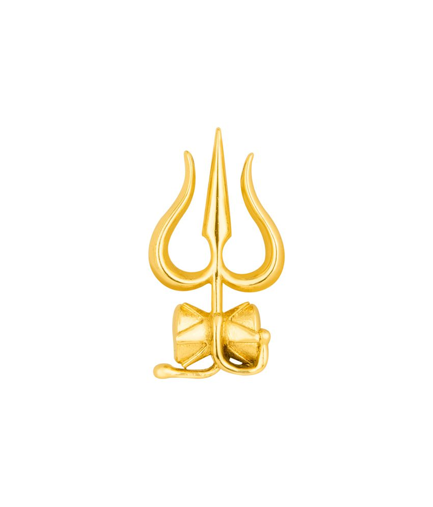Dare Holy Gold Plated Mahadev Trishul and Damru Brooch for men
