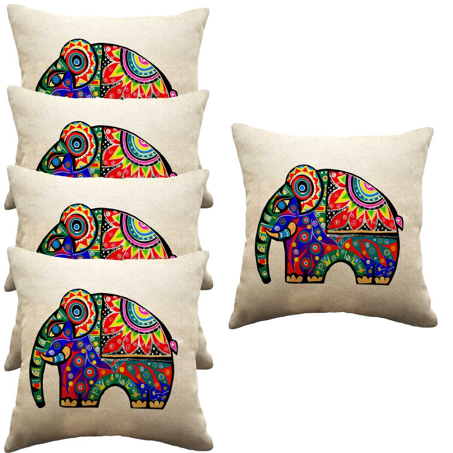 Viceroy Set of 5 Jute Cushion Covers 40X40 cm (16X16)