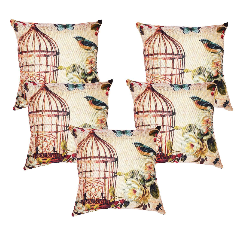 Vinayaka Set of 5 Jute Cushion Covers 40X40 cm (16X16)