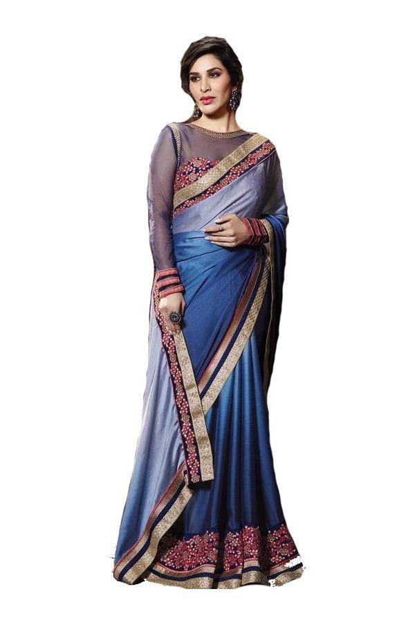 Wkart Blue and Grey Satin Saree