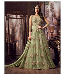 3cea773065f Quick View. Dresser Green and Beige Net Anarkali Gown Semi-Stitched Suit