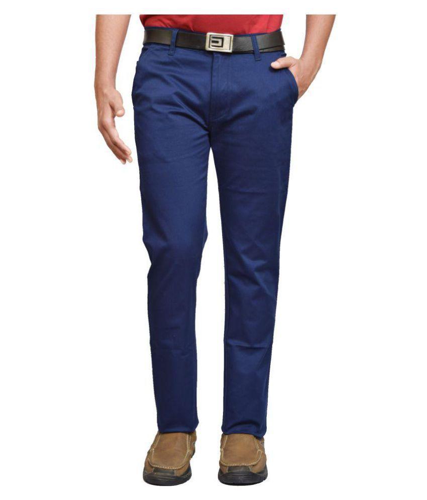 American Noti Blue Slim -Fit Flat Chinos