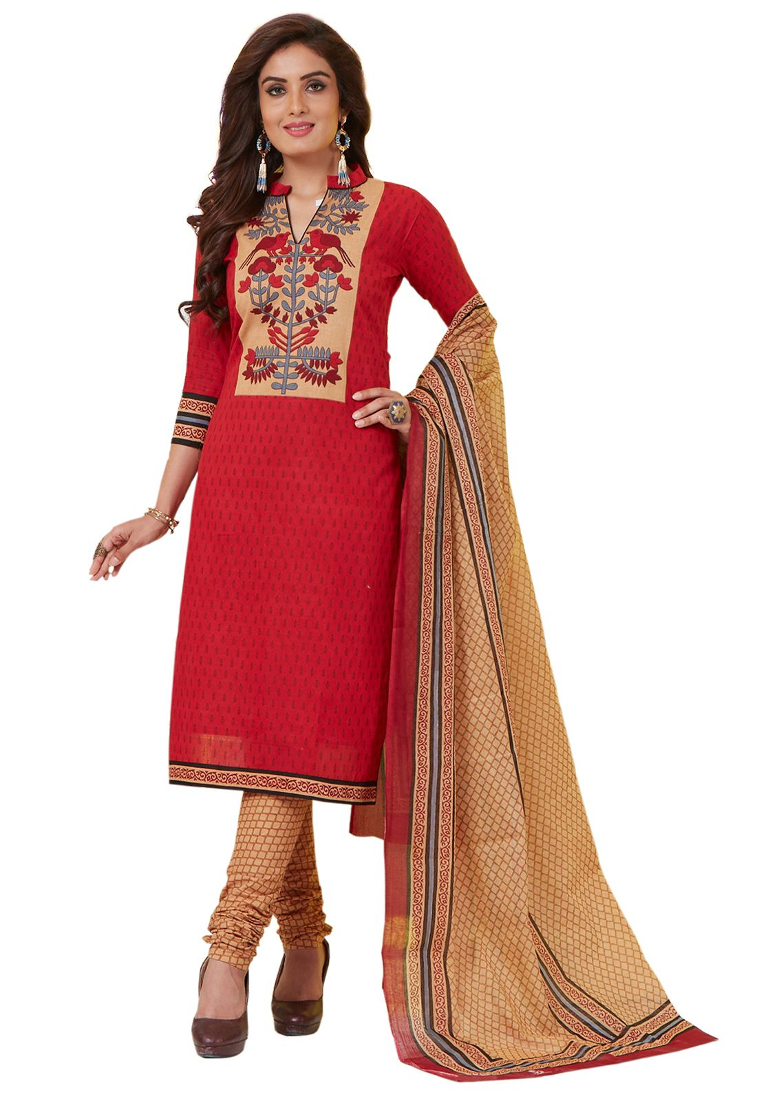 df8590995ab Ishin Red Cotton Dress Material - Buy Ishin Red Cotton Dress Material  Online at Best Prices in India on Snapdeal