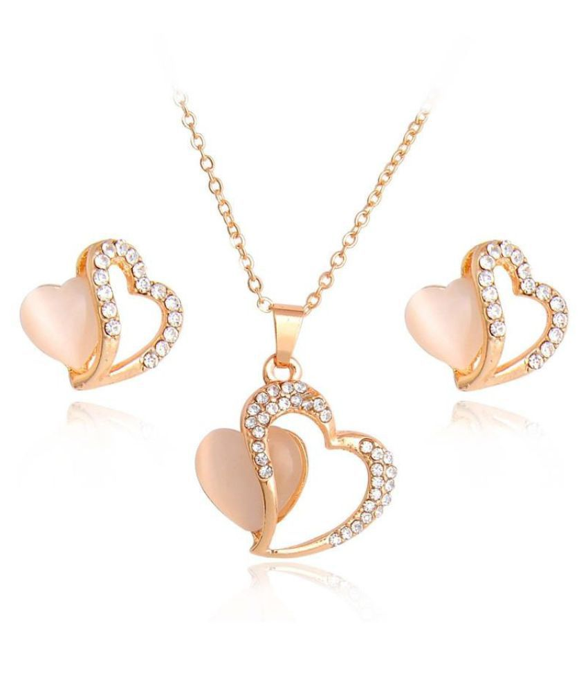 1Set 18K Gold Plated Necklace Earrings Austrian Crystal Lovely Hearts Opal Jewelry Set