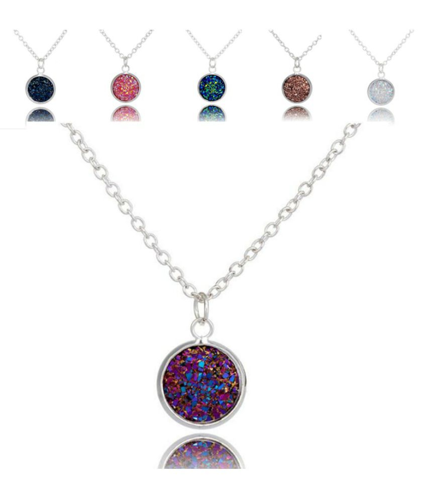 Unique Shining Stone Necklace Silvered Drusy Bezel Circle Pendant Necklaces