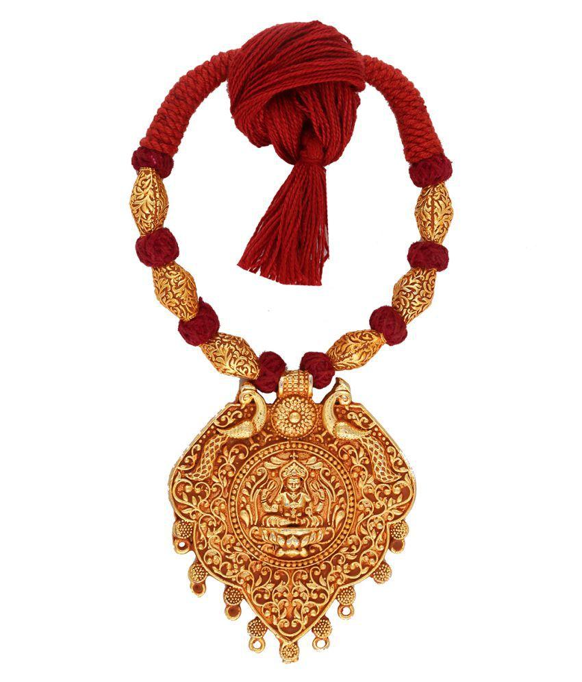 Anuradha Art Maroon Colour Temple Styled Wonderful Handmade Geru Polish Thread Neckalce For Women/Girls