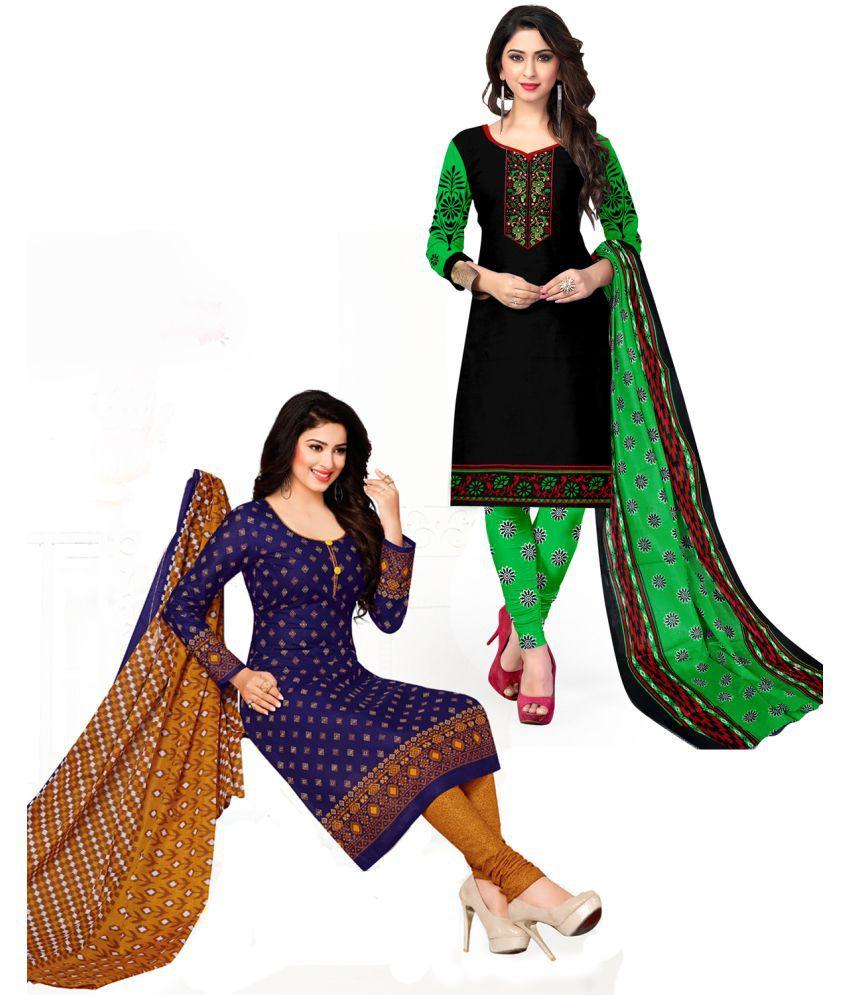 DRAPES Black Cotton Dress Material