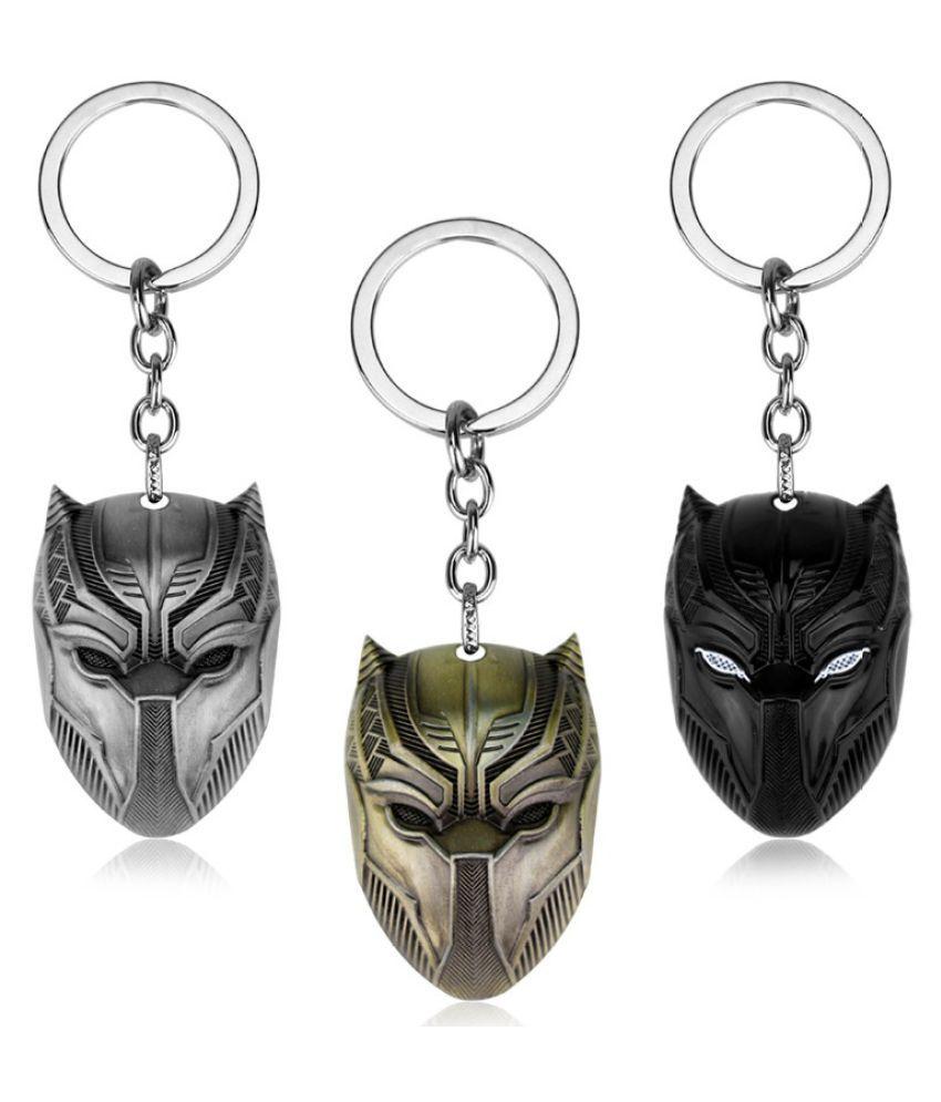 Marvel Comics Black Panther Keychain For Men Captain America Superhero Civil War Model Llavero Key Rings Holder