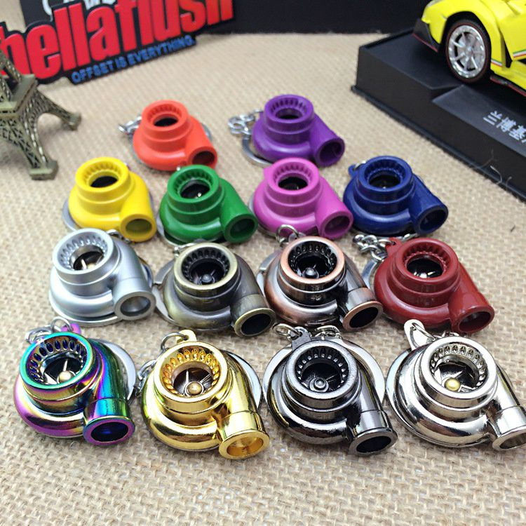 Beautiful Fashion Spinning Turbo Keychain Creative Fashion Fans Favorite Sleeve Bearing Turbine Turbocharger Keyring Key Chain Ring Keyfob