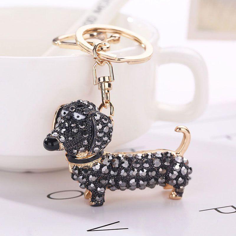Crystal Dog Dachshund Keychain Pom Gift Women Girl Bag Charm Pendant Keyring Keys Holder Jewelry Today Fashion