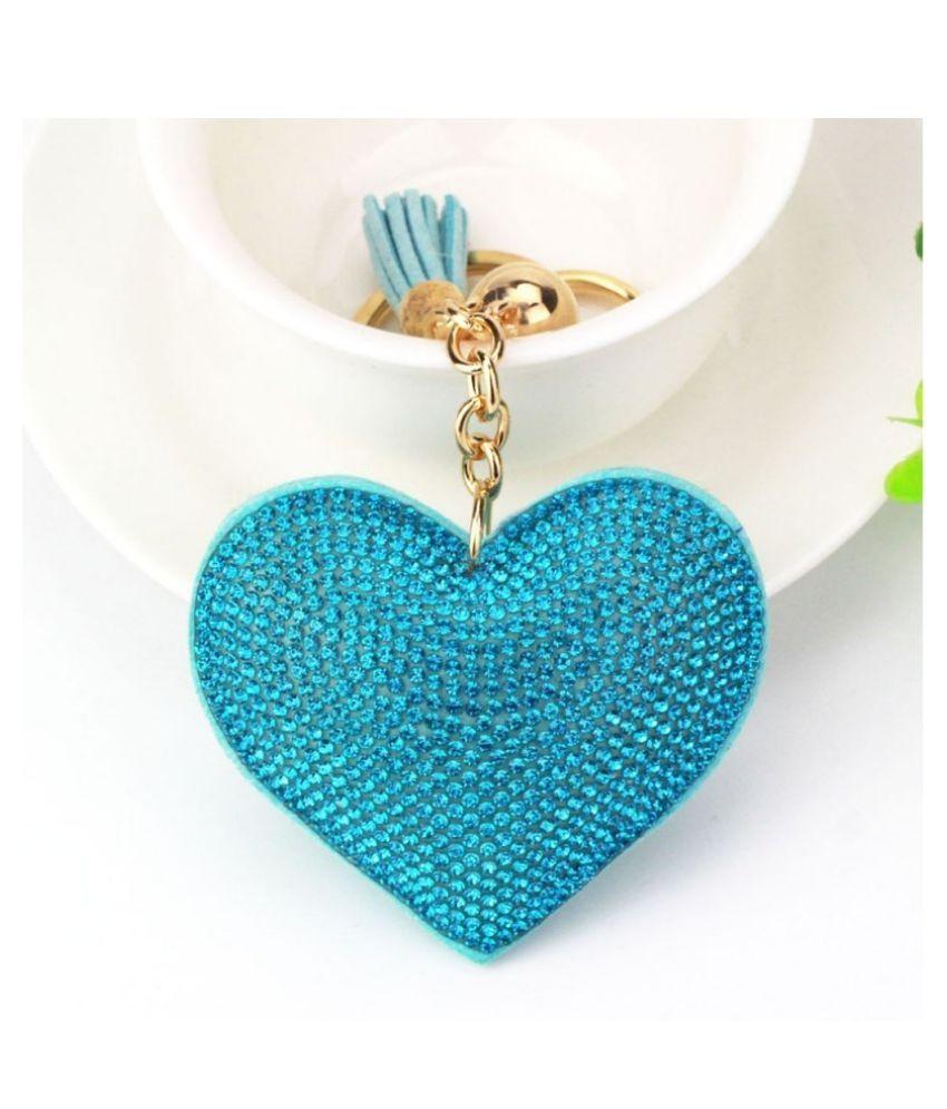 Mini Rhinestone Keyring Heart Shaped Keyrings Crystal Keychains