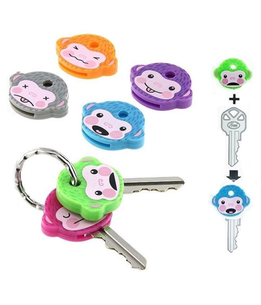 Cute PVC Monkey Key Cover Cap Six Color Keychain