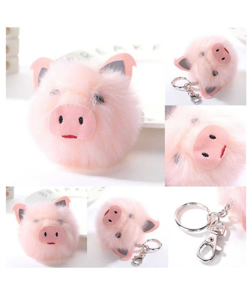 Lovely Pig Head Pendant Key Chain Faux Fur Keychain Ring Fluffy Ball Bag Decor