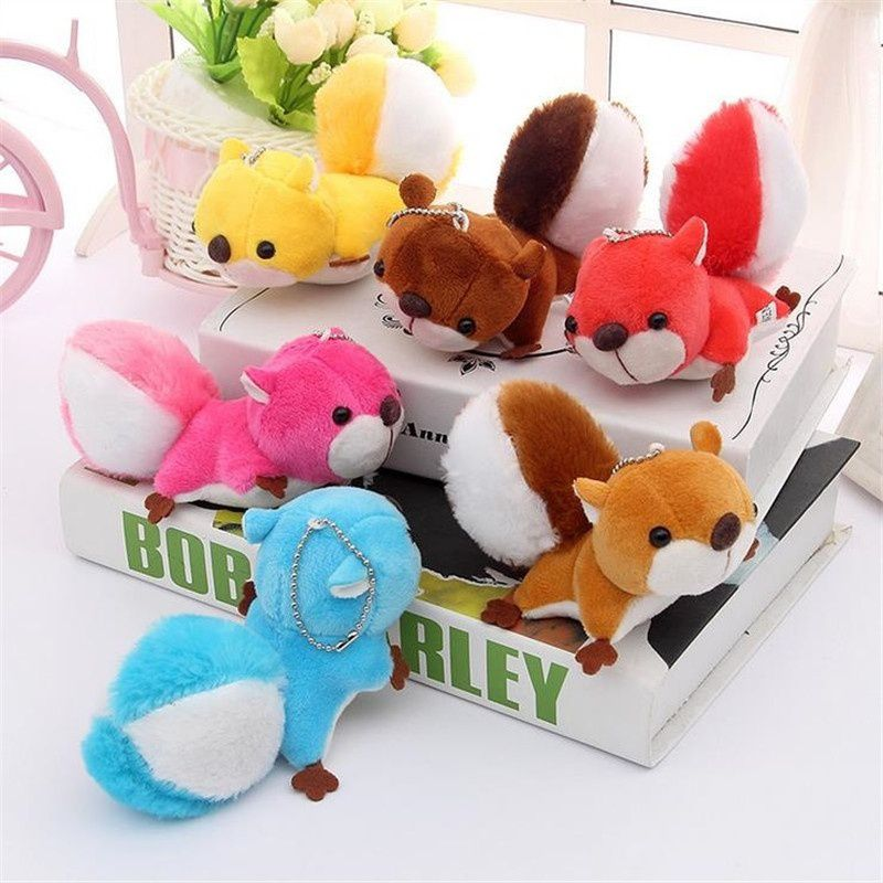 Lovely Squirrel Plush Toys Keychain Bag Pendant Car Key Ring with Suction Cups