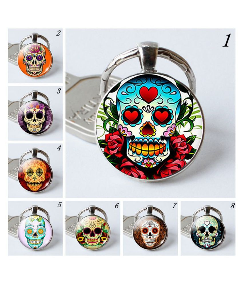 Sugar Skull Glass Key Ring Keychian. Day of The Dead Silvery Glass Dome Cabochon Keyring Key Chain