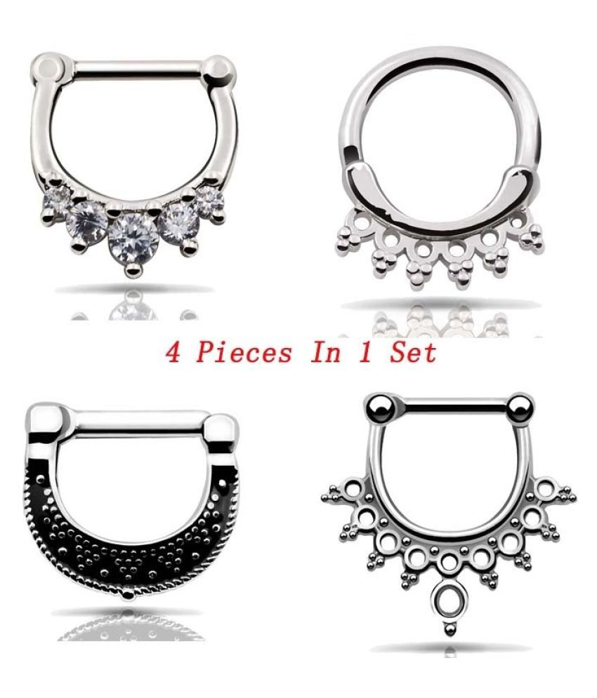 4 Pieces Stainless Steel Septum Clicker Pin Nose Hoop Ring Nose
