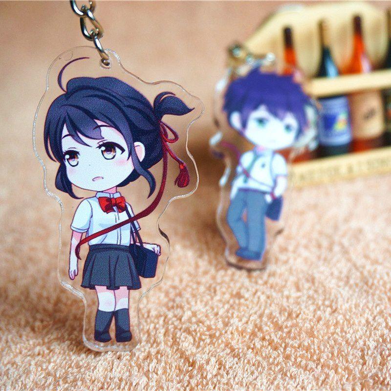 Cool New Japanese Anime Film Your Name Cute Miyamizu Mitsuha Tachibana Taki Character Transparent Acrylic Pendant Key Ring Keychain